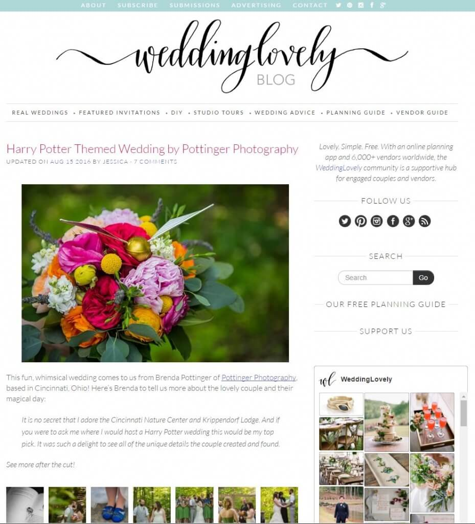 Our Harry Potter Wedding was Featured on the Wedding Lovely Blog ...